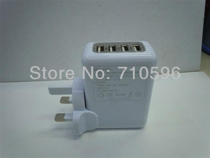 50pcs/lot US/AU/UK/EU Plug 4 Port mini USB travel Wall Charger HUB AC Power Adapter Universal for iphone ipad galaxy note new(China (Mainland))