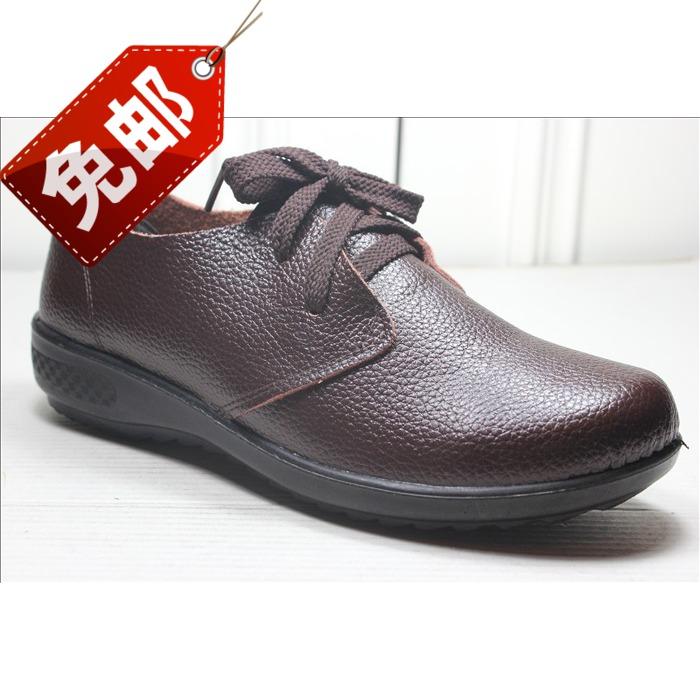 Calcanhar plana outono marrom de couro preto genuíno sola macia lacing sapatos único idosos das mulheres casuais(China (Mainland))
