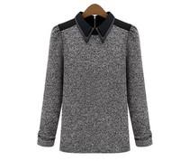 New 2014 Za Women basic Blouses & Shirts cotton knit full sleeve length Black Grey lady casual brand turn-down collar  S M L XL