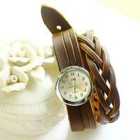 Braiding Watches Girls Clock Free Shipping Wholesale 2013 Fashion Dropship Retro Style Geniue Leather Watch