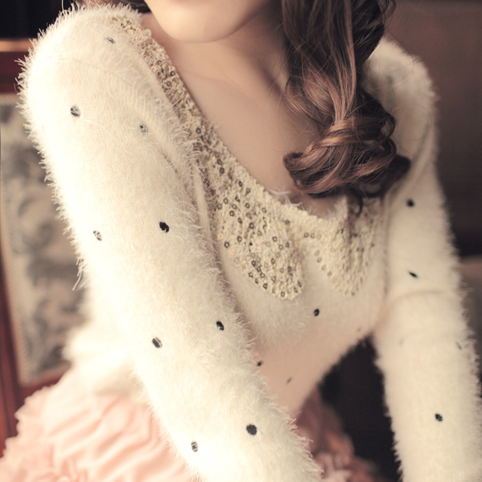 2013 women's peter pan collar embroidery polka dot mohair knitted plush women's long-sleeve sweater(China (Mainland))