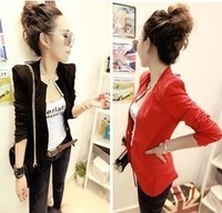 2013 autumn metal slim blazer 5  Fashion Womens Suit Tunic Foldable sleeve candy Color
