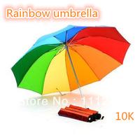Top Quality Fahsion Folding rainbow Straight umbrella rain umbrellas paraso Citymoon 10k free shipping retail