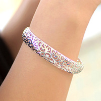 Silver bracelet with 18k gold aesthetic flower cutout birthday gift anti-allergic fashion female bracelet accessories