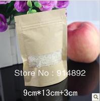 Wholesale 9 * 13 +3 cm kraft ziplock / visual kraft paper bag / food packaging bag
