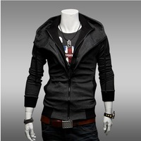 2013 Spring and Autumn Korean fashion casual sweater Slim hit color hooded cardigan sweater thin coat influx of men