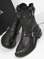 Fashion samedelman skull buckle side zipper cowhide boots martin boots motorcycle boots