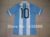 New Top Thailand quality 2012/14 Argentina Home blue embroidery logo 10# messi best Soccer Jersey Free shipping Size: S-XL