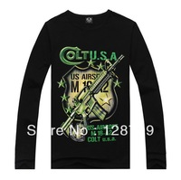 Free shipping,  men's Autumn Long sleeve T-shirt Print 3D Gun  Black Autumn Long sleeve T-shirt  High QUality NZ07034