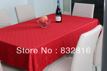 100% Polyester Jacquard Piece Dyed Rectangle Red Table Linen Dining Elegant Table Cloth With Waterproof And Oilproof