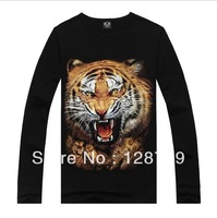 Free shipping,  men's Autumn Long sleeve T-shirt   Black Autumn Long sleeve T-shirt  3D Tiger Head  Long sleeve T-shirt NZ07037