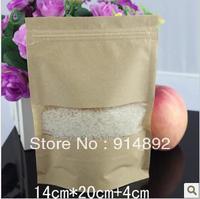 Wholesale 14*20+4cm  kraft paper standing ziplock / visual kraft paper bags