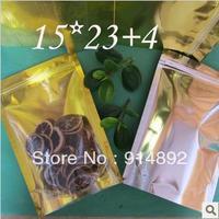 Wholesale 15*23+4cm  Aluminum translucent stand up Food bags /standing  ziplock/ visual   ziplock