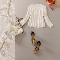 women clothing Fashion women's 2013 o-neck three quarter sleeve beading cardigan 13081911
