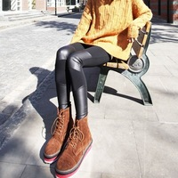New Miss Han Ban Chao summer stretch cotton thin section four leather stitching Faux Leather leggings