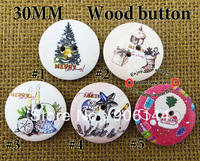 300pcs 5pattern  mixed christmas wooden buttons for sewing wood button MCB-103