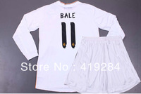 Real Madrid Home Long Sleeved Children Uniforms 2013 14, Jersey +Shorts,BALE ISCO RONALDO BENZEMA,Free Custom/Shipping