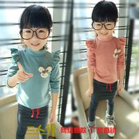 Free shipping 2013 child rabbit pin female child turtleneck long-sleeve basic shirt