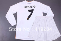 2013 Real Madrid home white 7# Ronaldo soccer jersey sets (jerseys+shorts),soccer uniforms + Children long sleeve soccer jerseys