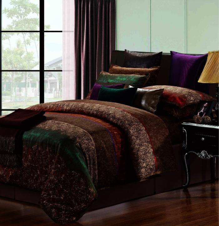 Marrom café listrado 100% algodão egípcio conjunto de cama queen size rei cetim duvet tampa de cama colcha em um saco de linho lençol colcha(China (Mainland))