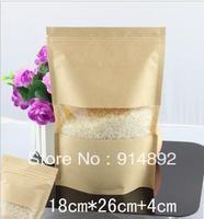 Wholesale 18*26+4.5cm Kraft paper self ziplock / Food Packaging bags/stand up pouch