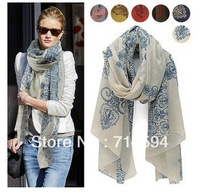 180*110CM 2013! Temperament Excellent, Blue and White Porcelain Style Thin Section the Silk Floss Women Scarf Shawl.