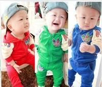 2013 cool wholesale kids wear fashion baby boy winter clothes 2pcs sets Sport suit fleece clothing set casual suits