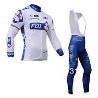 2013 FDJ Thermal Winter Fleece Cycling Jersey Long Sleeve and Cycling bib Pants/cycling clothing/maillot cycling