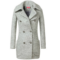 L8911 Women's double-breasted wool coat wool circle