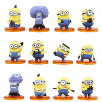 Anime Despicable Me 2 Minions Complete Set of 12 PVC Character Figures Free Shipping