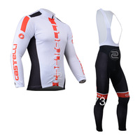 2013 White castelli Thermal Winter Fleece Cycling Jersey Long Sleeve and Cycling bib Pants/cycling clothing/maillot cycling