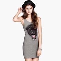 2014 new  black leopard head print Dark gray high-elastic slim one-piece dress tank dress