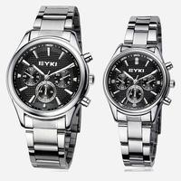 [Free Shipping] Ekey steel fashion business couple men women waterproof quartz watch
