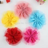 Wholesale DIY Flower 100% hair makde Vintage Lace Flower 3.5 Inch Lace Hair Flowers for Baby Headband 50PCS