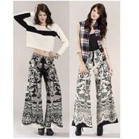 Female trousers bohemia wide leg pants fashion rayon national trend plus size fashion black and white available