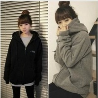 2013 autumn and winter women lovers school wear loose long-sleeve fleece sweatshirt outerwear cardigan female