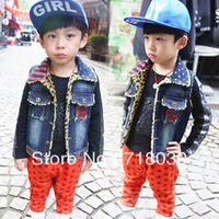 Hot 2013 children's clothing all-match flag clip velvet child denim vest boys girls kids all-match handsome vest free shipping