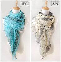 hot women winter scarf fashion style silk scarf polka velvet scarf chiffon Bohemia Scarf free shipping (SC150)