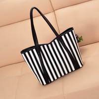 2013 stripe color block women's handbag the trend of fresh one small shoulder bag handbag shopping bag