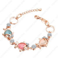 Fish Chain Bracelet 18K Rose Gold Plated Environmental protection alloy Lovely Fish Chain Bracelet B088R2