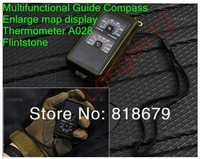 1pc new Multi Compass flint magnifying glass whistle north arrow temperature thermomA028 FreeShipping