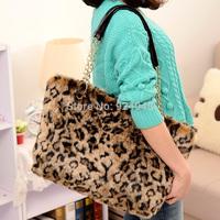 2014 Fashion bag  women's handbag one shoulder leopard print bag fur bags 2013 chain bag plush bag