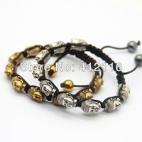 Wholesale 12 pieces/lot 2013 Fashion Antique Gold and Silver Lucky All Buddha Head Shamballa Bracelets Jewelry