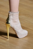 women clothing Fashion nude color elegant decorative pattern gold high-heeled boots women's shoes