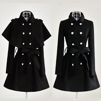 2013 New Women's Trench Coat Fashion Wool Blends Slim Thickening Coats Lovely Ruffle Decorate Outerwear