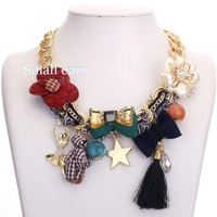 2013 new fashion flower shaped alloy bow necklace jewelry resin pendants female animal character star big necklace chain alloy