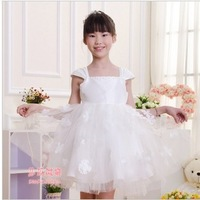 Retail! 2014 Summer New Girls Princess Dress Kids Wedding Formal Dress Costumes Party High Quality White For 3-12years Girls