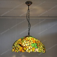 16 inches Continental green leaf chandelier Tiffany Glass cafe table lamps Lighting Fashion