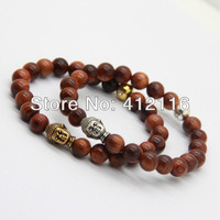 2013 Fashion New Arrival Antique Gold and Silver Natural Wood Beads Buddha Head Elastic Bracelets Wholesale Jewelry For Men