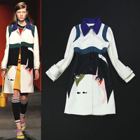 Runway Luxury Fashion Women's Peter Pan Collar Color Block Lady Face Print Woolen Blends Coat